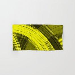Bright pillars of yellow light from flowing lines on dark fabric Hand & Bath Towel