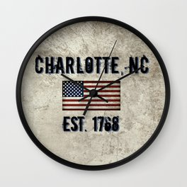 Tribute to Charlotte, NC, EST. 1768 Wall Clock