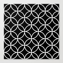Interlinking Circles Pattern White on Black Canvas Print