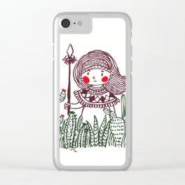 Cactus Warrior Clear iPhone Case