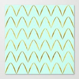 Mint Gold Foil 05 Canvas Print