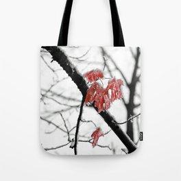 Scarlet Red Leaves in Winter Tote Bag
