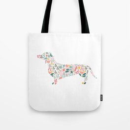 Dachshund Floral Watercolor Art Tote Bag