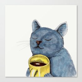 Cat and coffee watercolor, blue cat mug, cat painting, kitty art Canvas Print
