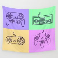 nintendo Wall Tapestries featuring Nintendo Gaming Controllers - Retro Style! by Rikard Röhr