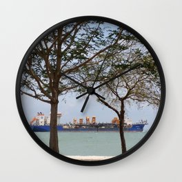 SUN, SAND, SEA & SHIP Wall Clock
