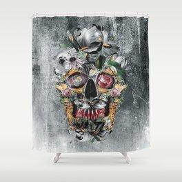Skull on old grunge III Shower Curtain