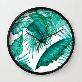 HAWAIIAN GARDEN TROPICAL LEAVES | turquoise white Wall Clock