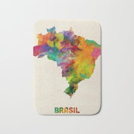 Brazil Watercolor Map Bath Mat