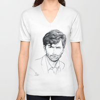 david tennant V-neck T-shirts featuring David Tennant as Broadchurch's Alec Hardy (or Gracepoint's Emmett Carver) Etching by ieIndigoEast
