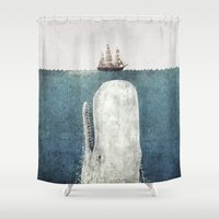 text Shower Curtains featuring The Whale - vintage  by Terry Fan