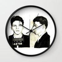 frank sinatra Wall Clocks featuring Frank Sinatra Mug Shot by Lauren Randalls ART