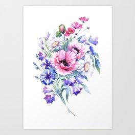 Field flowers bouquet. Watercolor illustration Art Print