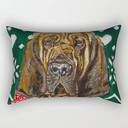 Bloodhound in a Hat and Scarf Rectangular Pillow