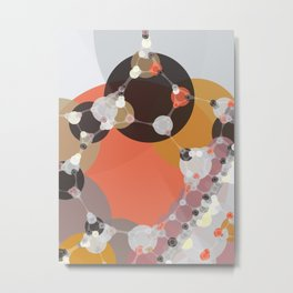 fiona - bright abstract coral pink mustard melon brown dusty rose grey peach Metal Print