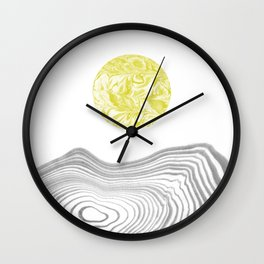 Tomo - spilled ink abstract modern swirl marble painting paint marbling japanese watercolor art Wall Clock