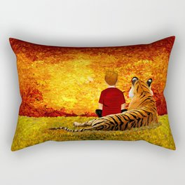 Cute Calvin and the lazy tiger Art painting Rectangular Pillow