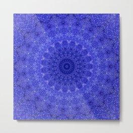 Cosmos Mandala II Cobalt Blue Metal Print