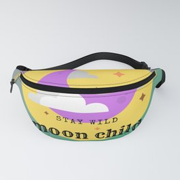 STAY WILD MOON CHILD, digital design with a quote, moon and stars, illustration in purple and yellow Fanny Pack