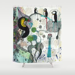 """Toucan and penguins"" Shower Curtain"