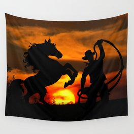 Cowboy at sunset Wall Tapestry