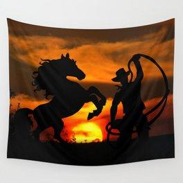Cowboy at sunset Wall Tapestry