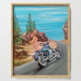 Motorcycle Girl Blond by Sonya Allen Serving Tray