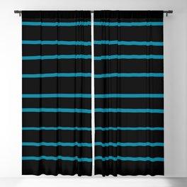 Pantone Barrier Reef 17-4530 Hand Drawn Horizontal Lines on Black Blackout Curtain