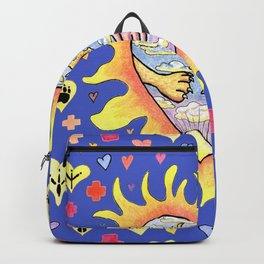 people helping animals, blue background Backpack