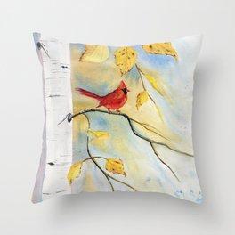 Cardinal on birch Tree Throw Pillow