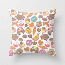 Mexican Sweet Bakery Frenzy // white background // pastel colors pan dulce Throw Pillow