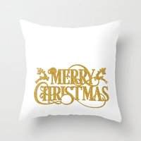 merry christmas Throw Pillows featuring Merry Christmas by Better HOME