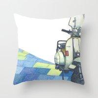 vespa Throw Pillows featuring vespa by Miyuki Sakurai