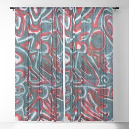 Jack Teal/Red Sheer Curtain