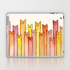 Cats Autumn Colors Pattern Whimsical Cat Orange Red Yellow Animals Laptop & iPad Skin