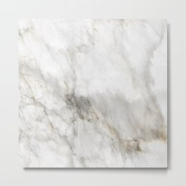 WHITE AND GOLD MARBLE Metal Print
