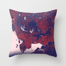Shenzhen, China, Blue, White, City, Map Throw Pillow