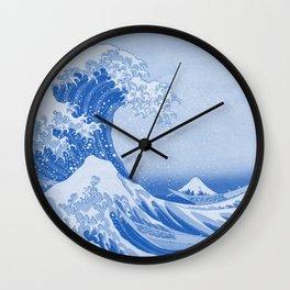 Cerulean Blue Porcelain Glaze Japanese Great Wave Wall Clock