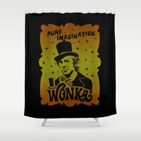 willy wonka Shower Curtains featuring Gold Ticket by Buby87