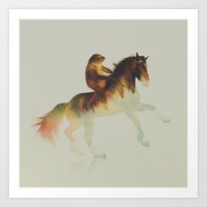 Sloth Riding a Horse Art Print