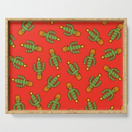Cactus Christmas Tree in Red Serving Tray
