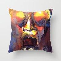 fear Throw Pillows featuring Fear  by Stevyn Llewellyn