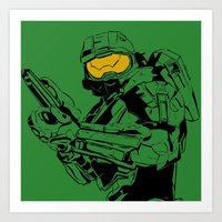master chief Art Prints featuring Halo Master Chief by Ashley Rhodes
