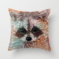 kit king Throw Pillows featuring Kit by Col Mitchell Paper Artist