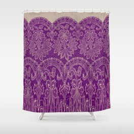lace border stretched in purple Shower Curtain