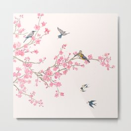 Birds and cherry blossoms Metal Print