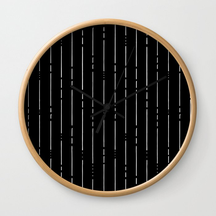 Broken Lines // Vertical White on Black Wall Clock