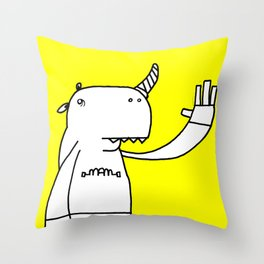 Uni monster bathed in glorious light. Throw Pillow