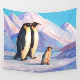 Happy Penguin Family Wall Tapestry