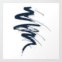 Abstract black line Art Print